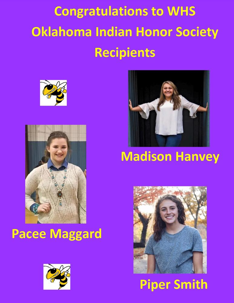 Oklahoma Indian Honor Society Recipients