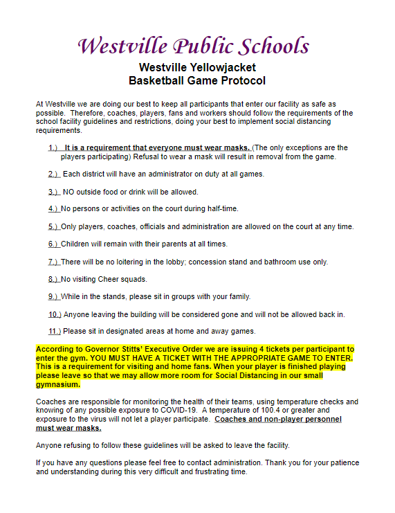 Updated Basketball Game Procedures